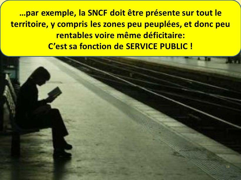 …par exemple, la SNCF doit être présente sur tout le territoire, y compris les zones peu peuplées, et donc peu rentables voire même déficitaire: Cest