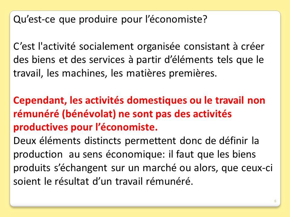 Quest-ce que produire pour léconomiste? Cest l'activité socialement organisée consistant à créer des biens et des services à partir déléments tels que