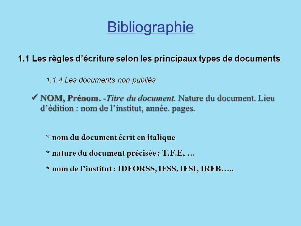 Bibliographie 1.1 Les règles décriture selon les principaux types de documents 1.1.4 Les documents non publiés 1.1 Les règles décriture selon les prin