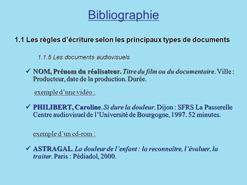 Bibliographie 1.1 Les règles décriture selon les principaux types de documents 1.1.5 Les documents audiovisuels 1.1 Les règles décriture selon les pri