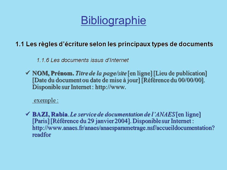 Bibliographie 1.1 Les règles décriture selon les principaux types de documents 1.1.6 Les documents issus dInternet 1.1 Les règles décriture selon les