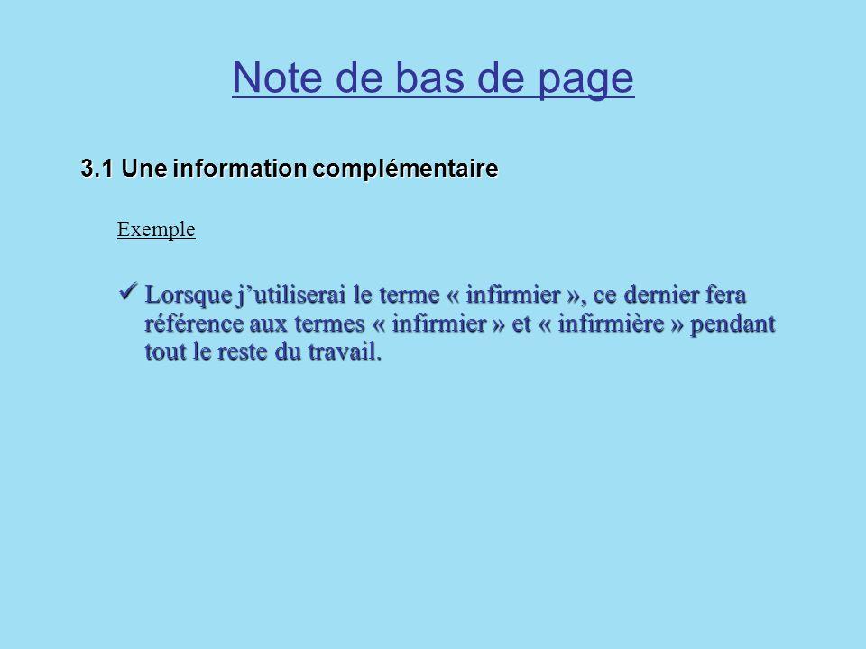 Note de bas de page 3.1 Une information complémentaire 3.1 Une information complémentaire Exemple Lorsque jutiliserai le terme « infirmier », ce derni