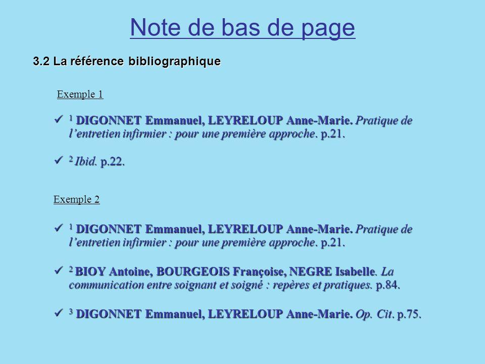 Note de bas de page 3.2 La référence bibliographique 3.2 La référence bibliographique Exemple 1 1 DIGONNET Emmanuel, LEYRELOUP Anne-Marie. Pratique de