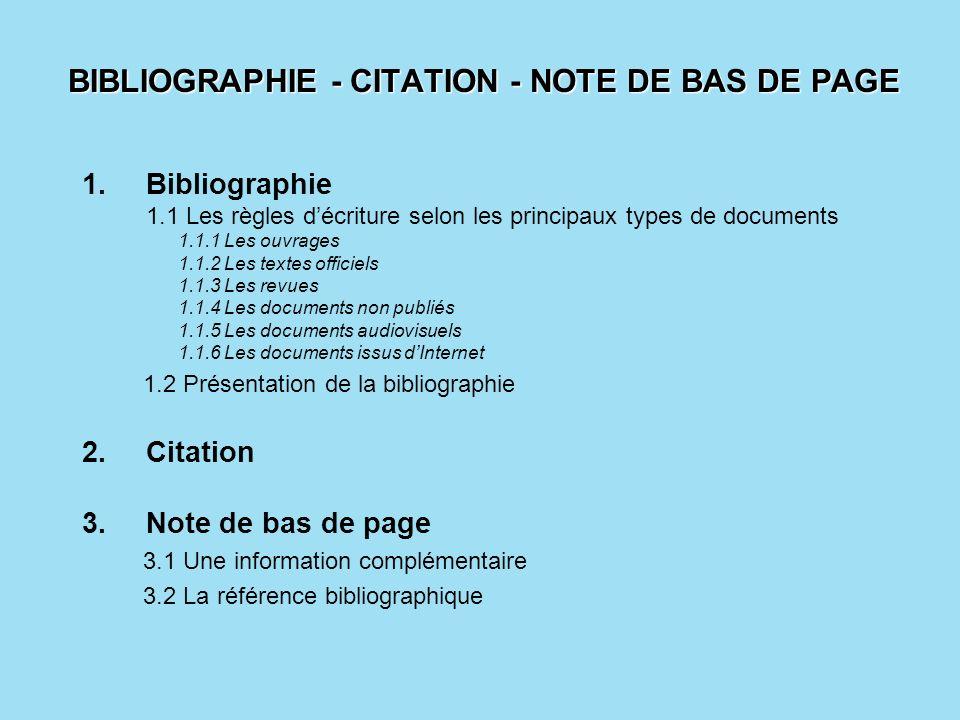 BIBLIOGRAPHIE - CITATION - NOTE DE BAS DE PAGE 1.Bibliographie 1.1 Les règles décriture selon les principaux types de documents 1.1.1 Les ouvrages 1.1