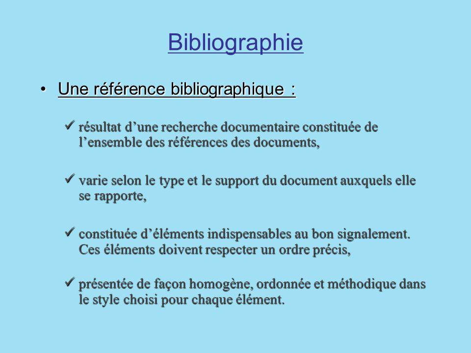 Bibliographie Une référence bibliographique :Une référence bibliographique : résultat dune recherche documentaire constituée de lensemble des référenc