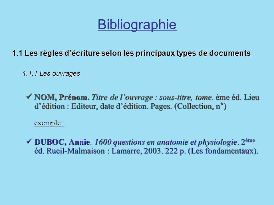 Bibliographie 1.1 Les règles décriture selon les principaux types de documents 1.1.1 Les ouvrages NOM, Prénom. Titre de louvrage : sous-titre, tome. è
