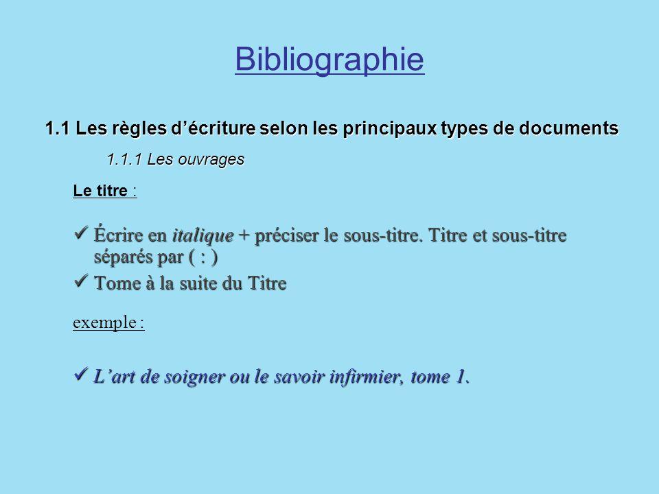 Bibliographie 1.1 Les règles décriture selon les principaux types de documents 1.1.1 Les ouvrages 1.1 Les règles décriture selon les principaux types