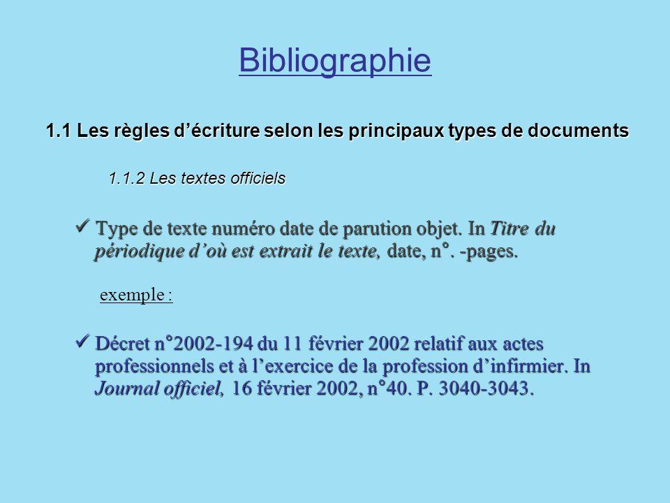 Bibliographie 1.1 Les règles décriture selon les principaux types de documents 1.1.2 Les textes officiels 1.1 Les règles décriture selon les principau