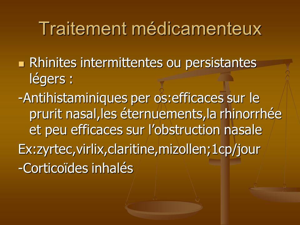 Traitement médicamenteux Rhinites intermittentes ou persistantes légers : Rhinites intermittentes ou persistantes légers : -Antihistaminiques per os:efficaces sur le prurit nasal,les éternuements,la rhinorrhée et peu efficaces sur lobstruction nasale Ex:zyrtec,virlix,claritine,mizollen;1cp/jour -Corticoïdes inhalés