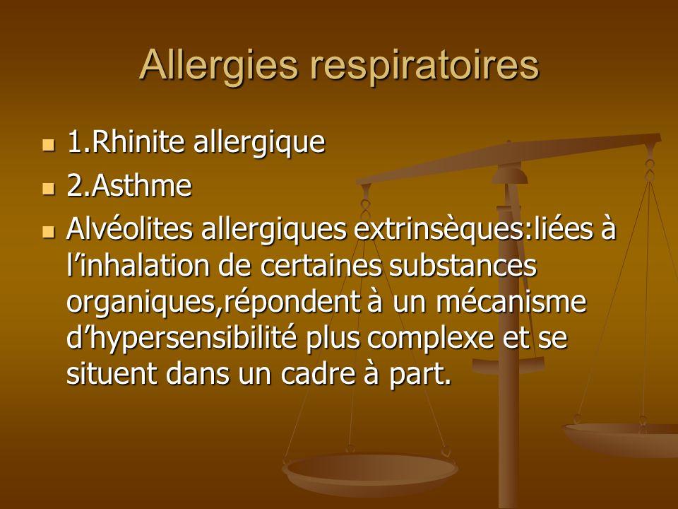 Allergies respiratoires 1.Rhinite allergique 1.Rhinite allergique 2.Asthme 2.Asthme Alvéolites allergiques extrinsèques:liées à linhalation de certaines substances organiques,répondent à un mécanisme dhypersensibilité plus complexe et se situent dans un cadre à part.
