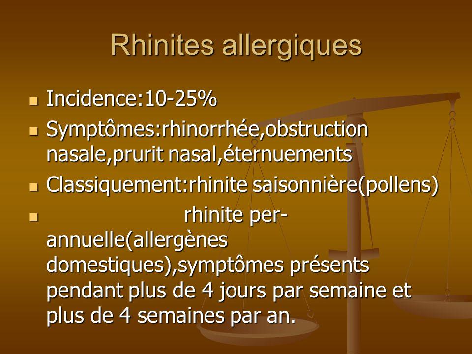 Rhinites allergiques Incidence:10-25% Incidence:10-25% Symptômes:rhinorrhée,obstruction nasale,prurit nasal,éternuements Symptômes:rhinorrhée,obstruction nasale,prurit nasal,éternuements Classiquement:rhinite saisonnière(pollens) Classiquement:rhinite saisonnière(pollens) rhinite per- annuelle(allergènes domestiques),symptômes présents pendant plus de 4 jours par semaine et plus de 4 semaines par an.