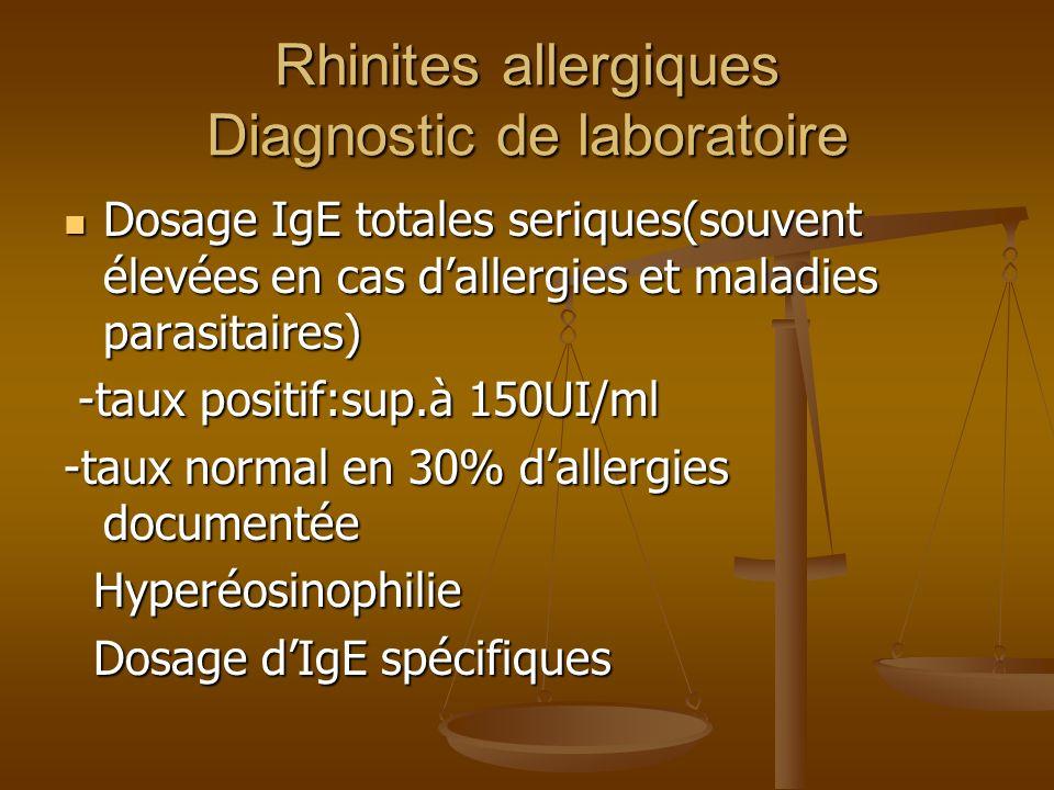 Rhinites allergiques Diagnostic de laboratoire Dosage IgE totales seriques(souvent élevées en cas dallergies et maladies parasitaires) Dosage IgE totales seriques(souvent élevées en cas dallergies et maladies parasitaires) -taux positif:sup.à 150UI/ml -taux positif:sup.à 150UI/ml -taux normal en 30% dallergies documentée Hyperéosinophilie Hyperéosinophilie Dosage dIgE spécifiques Dosage dIgE spécifiques