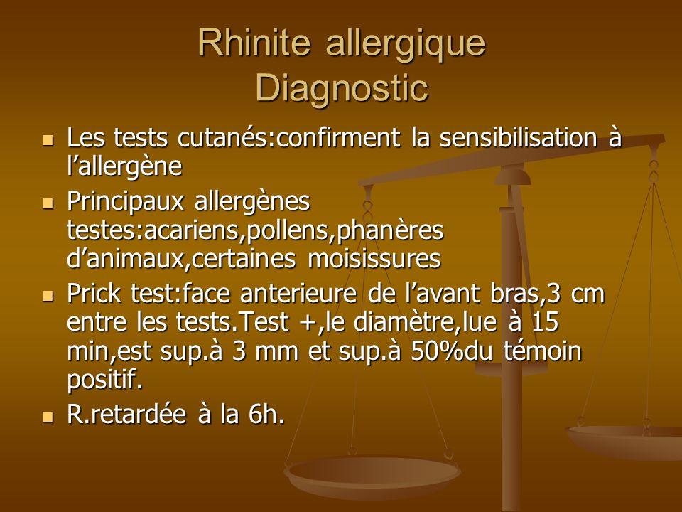 Rhinite allergique Diagnostic Les tests cutanés:confirment la sensibilisation à lallergène Les tests cutanés:confirment la sensibilisation à lallergène Principaux allergènes testes:acariens,pollens,phanères danimaux,certaines moisissures Principaux allergènes testes:acariens,pollens,phanères danimaux,certaines moisissures Prick test:face anterieure de lavant bras,3 cm entre les tests.Test +,le diamètre,lue à 15 min,est sup.à 3 mm et sup.à 50%du témoin positif.