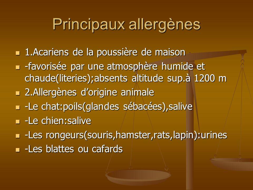 Principaux allergènes 1.Acariens de la poussière de maison 1.Acariens de la poussière de maison -favorisée par une atmosphère humide et chaude(literies);absents altitude sup.à 1200 m -favorisée par une atmosphère humide et chaude(literies);absents altitude sup.à 1200 m 2.Allergènes dorigine animale 2.Allergènes dorigine animale -Le chat:poils(glandes sébacées),salive -Le chat:poils(glandes sébacées),salive -Le chien:salive -Le chien:salive -Les rongeurs(souris,hamster,rats,lapin):urines -Les rongeurs(souris,hamster,rats,lapin):urines -Les blattes ou cafards -Les blattes ou cafards