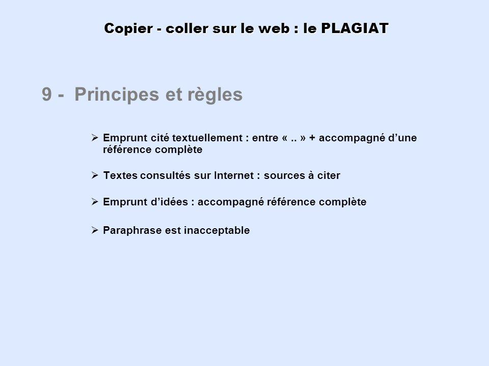 Copier - coller sur le web : le PLAGIAT 9 - Principes et règles Emprunt cité textuellement : entre «.. » + accompagné dune référence complète Textes c