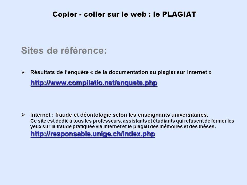 Copier - coller sur le web : le PLAGIAT Sites de référence: Résultats de lenquête « de la documentation au plagiat sur Internet » http://www.compilati