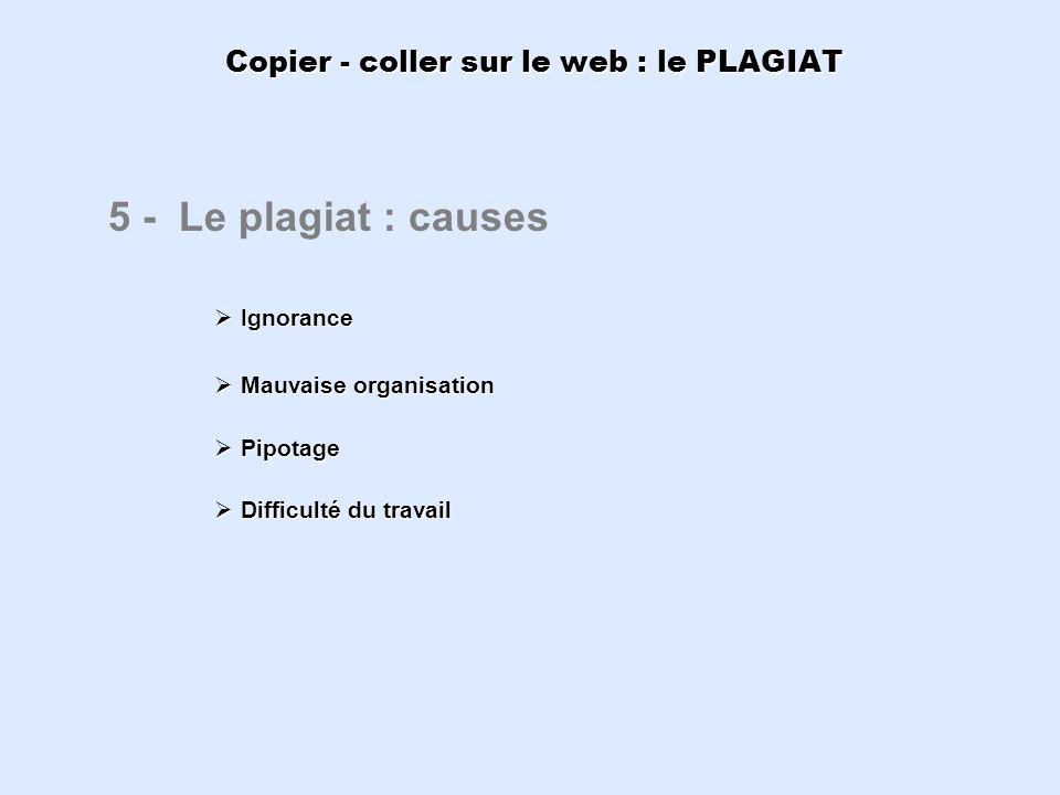 Copier - coller sur le web : le PLAGIAT 5 - Le plagiat : causes Ignorance Ignorance Mauvaise organisation Mauvaise organisation Pipotage Pipotage Diff