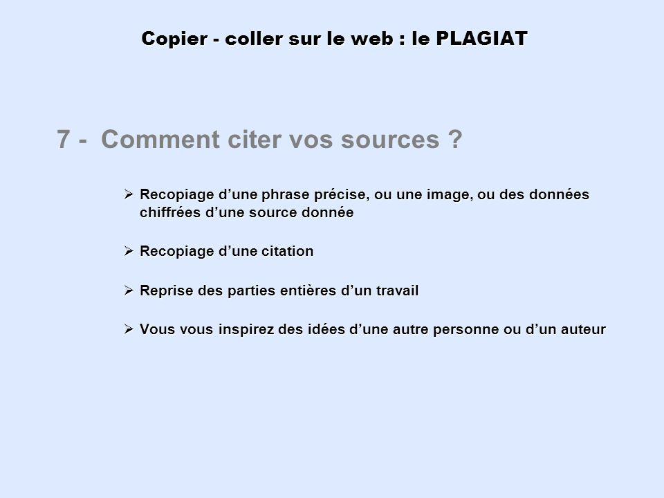 Copier - coller sur le web : le PLAGIAT 7 - Comment citer vos sources ? Recopiage dune phrase précise, ou une image, ou des données chiffrées dune sou
