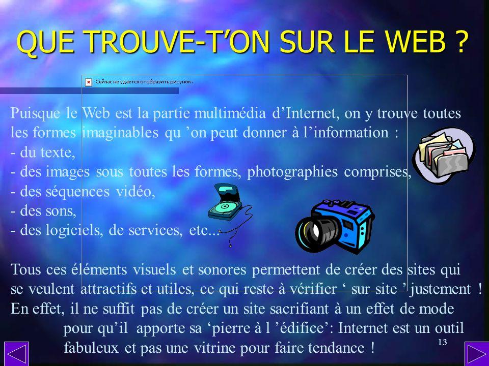12 Au menu : Au menu : - Que trouve-ton sur le Web ? - Quest-ce quune page Internet ? - Quest-ce quun site Internet ? - Comment est conçu un site ? -