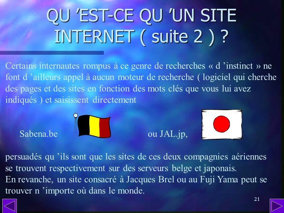 20 QU EST-CE QU UN SITE INTERNET ? Pour ce qui concerne les sites ou simples pages de particuliers, la recherche se fera de préférence à partir dun mo