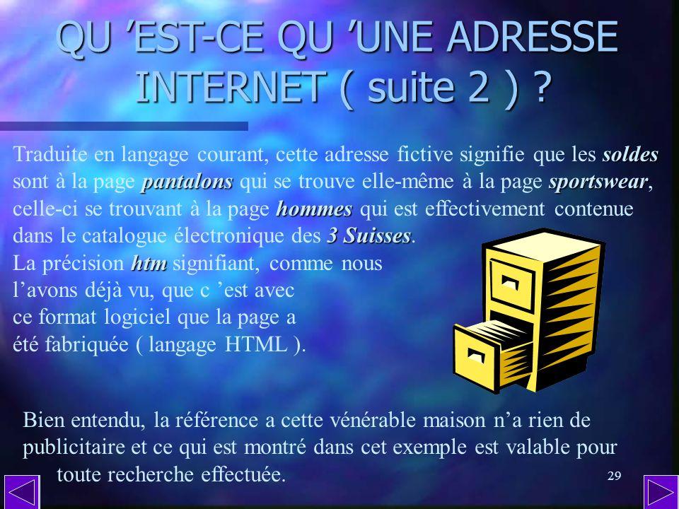 28 QU EST-CE QU UNE ADRESSE INTERNET ( suite 1 ) ? /anti-slash Le signe / ( appelé anti-slash dans le jargon du clavier dun micro-ordinateur ) sépare