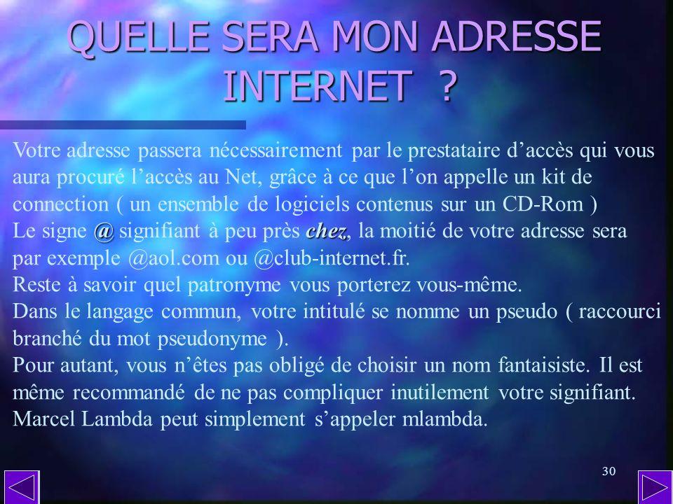 29 QU EST-CE QU UNE ADRESSE INTERNET ( suite 2 ) ? soldes Traduite en langage courant, cette adresse fictive signifie que les soldes pantalonssportswe