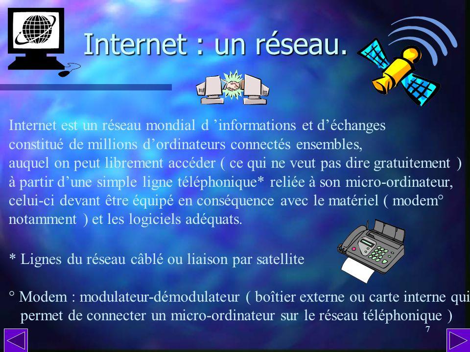 6 Internet : c est quoi ? On y va ? De nos jours, impossible dignorer Internet. Même si on ne possède pas dordinateur personnel ou professionnel, dans