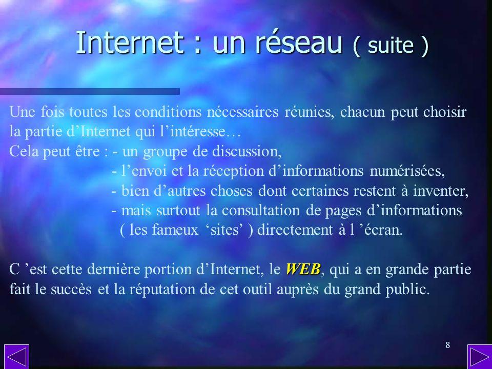 7 Internet : un réseau. Internet : un réseau. Internet est un réseau mondial d informations et déchanges constitué de millions dordinateurs connectés