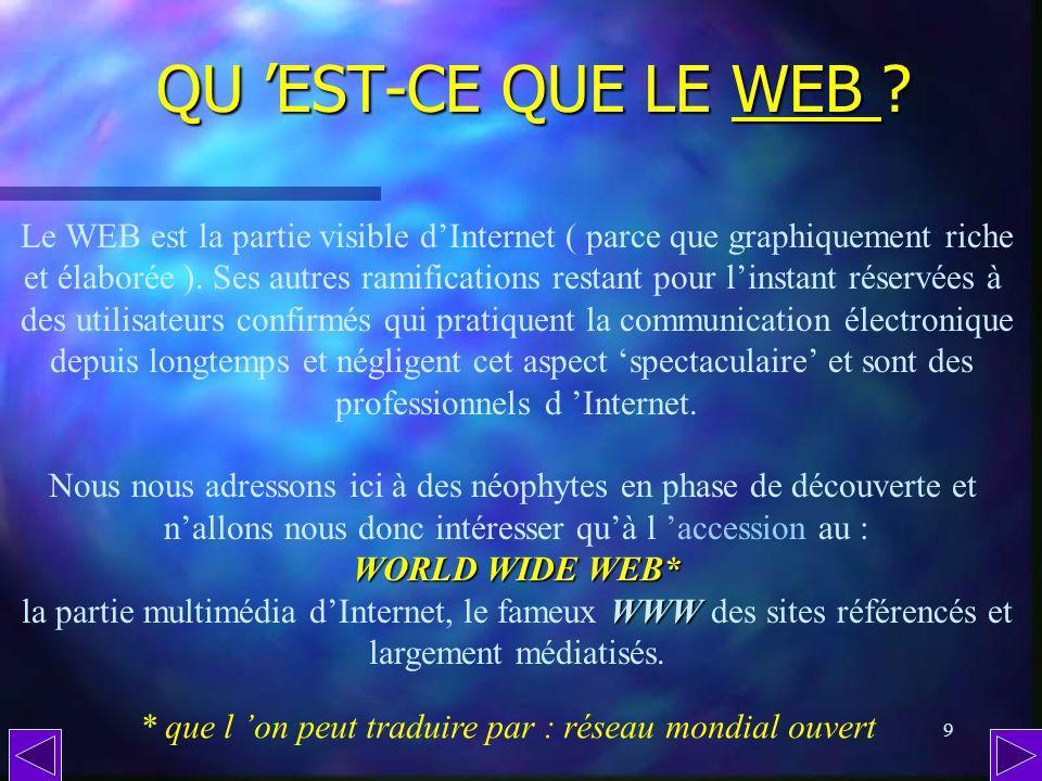 8 Internet : un réseau ( suite ) Une fois toutes les conditions nécessaires réunies, chacun peut choisir la partie dInternet qui lintéresse… Cela peut