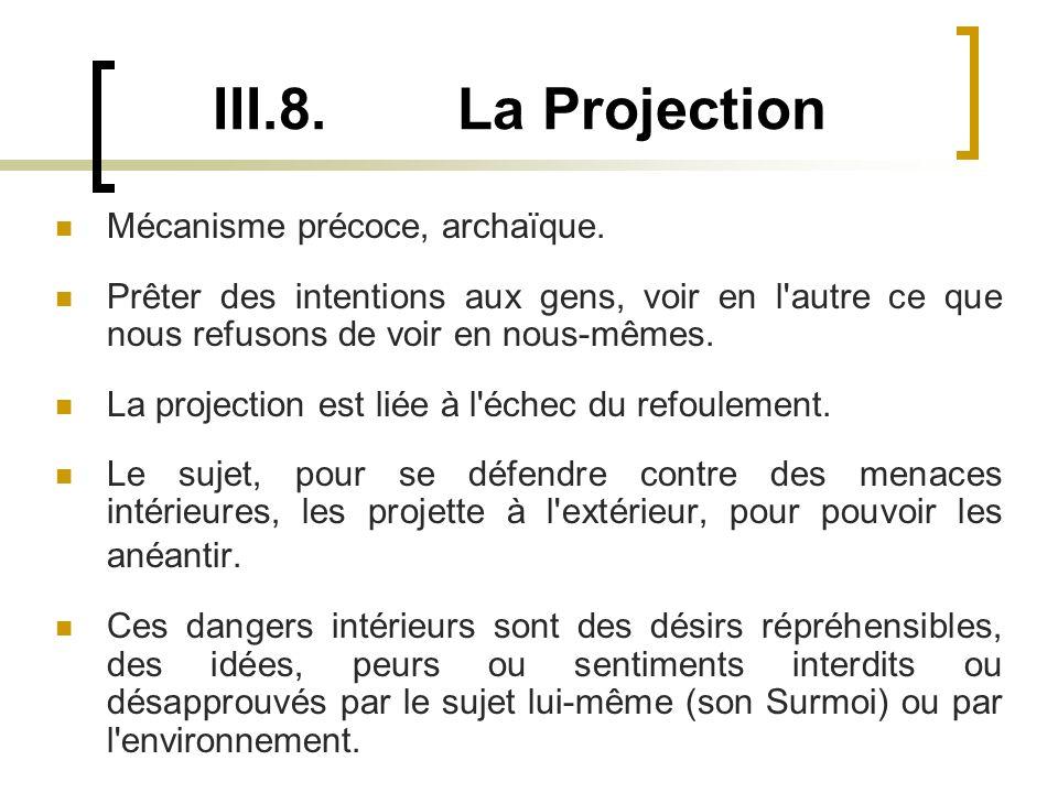 III.8.La Projection Mécanisme précoce, archaïque.
