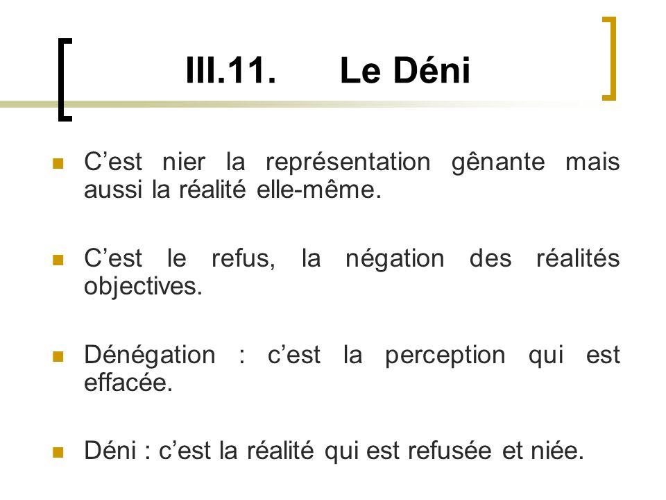 III.11.Le Déni Cest nier la représentation gênante mais aussi la réalité elle-même.