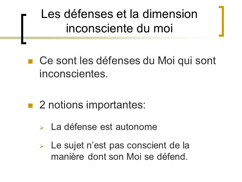 Les défenses et la dimension inconsciente du moi Ce sont les défenses du Moi qui sont inconscientes.