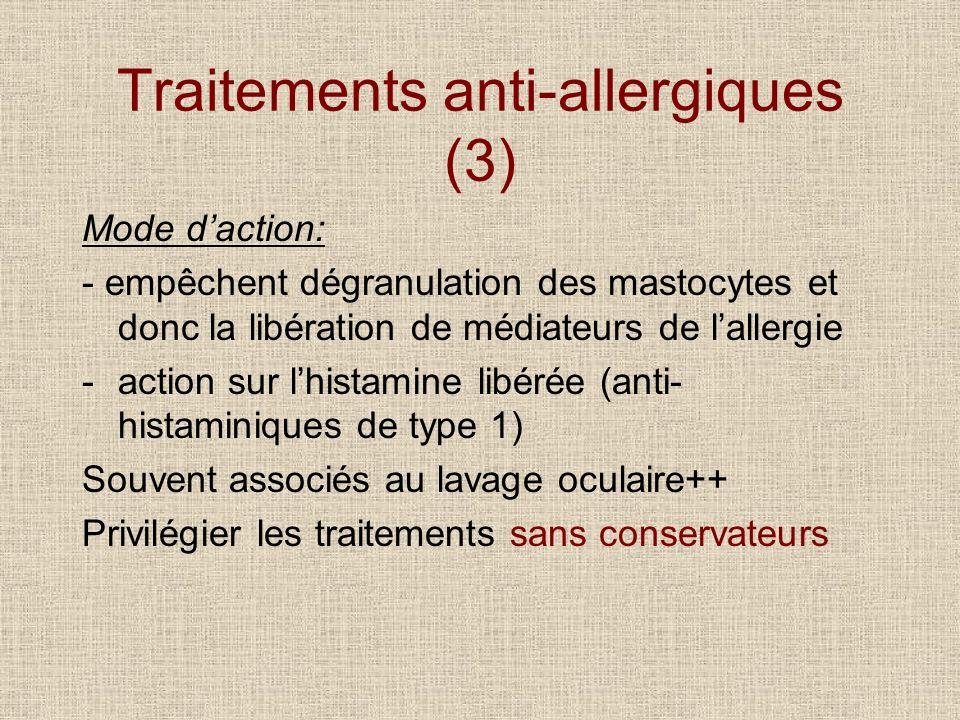 Traitements anti-allergiques (3) Mode daction: - empêchent dégranulation des mastocytes et donc la libération de médiateurs de lallergie -action sur l