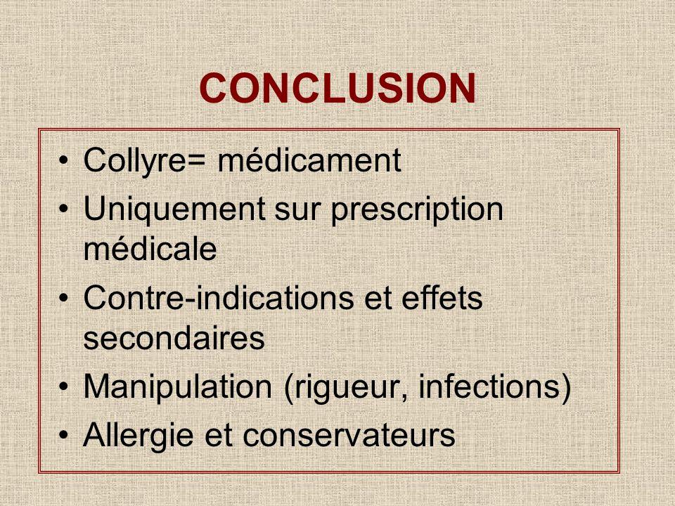 CONCLUSION Collyre= médicament Uniquement sur prescription médicale Contre-indications et effets secondaires Manipulation (rigueur, infections) Allerg