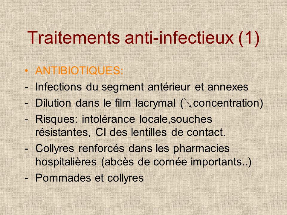 Traitements anti-infectieux (1) ANTIBIOTIQUES: -Infections du segment antérieur et annexes -Dilution dans le film lacrymal ( concentration) -Risques: