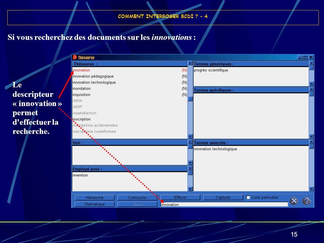 15 Si vous recherchez des documents sur les innovations : COMMENT INTERROGER BCDI ? – 4 Le descripteur « innovation » permet d'effectuer la recherche.