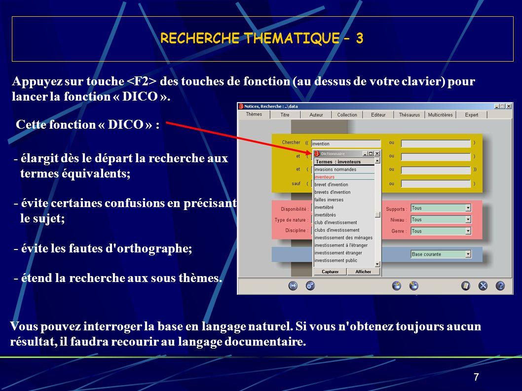18 AFFICHAGE DES RESULTATS - 1 Le nombre de fiches correspondantes est renseigné : ici 52 fiches pour le descripteur « innovation technologique ».