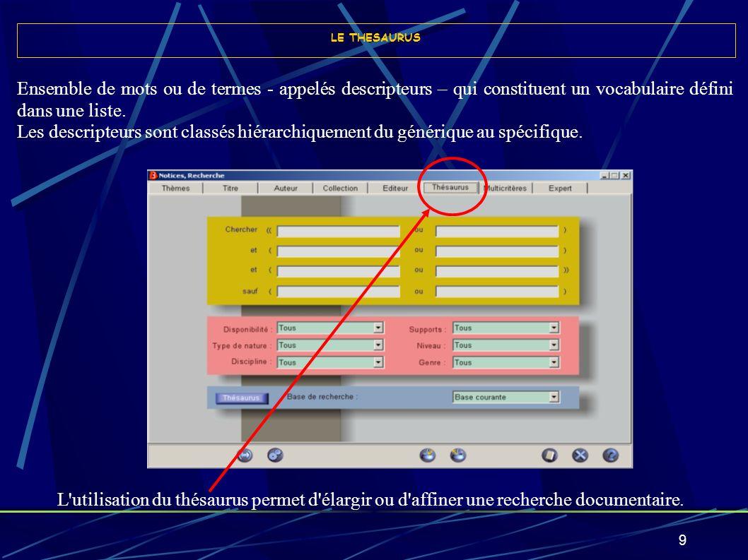 10 Indexation : Procédure destinée à décrire et à caractériser le contenu d un texte ou d un document (ou d une partie d un texte ou d un document) à l aide de termes (dénommés mots-clé ou descripteurs).