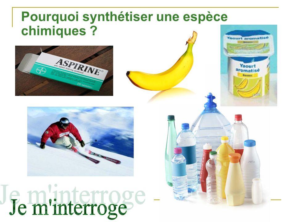 Pourquoi synthétiser une espèce chimiques ?