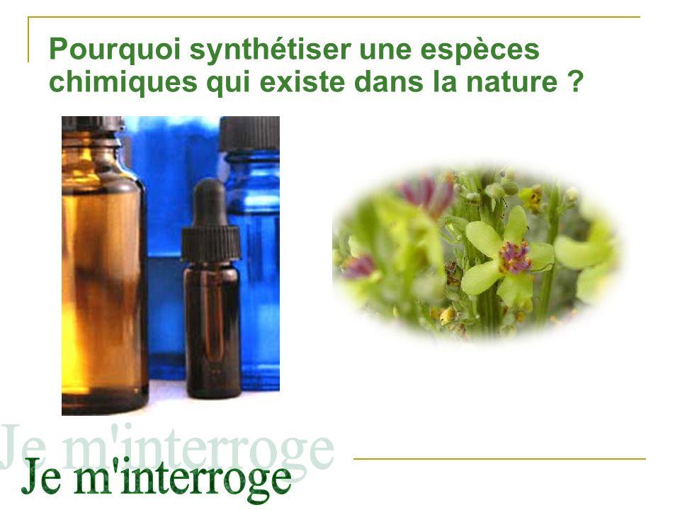 Pourquoi synthétiser une espèces chimiques qui existe dans la nature ?