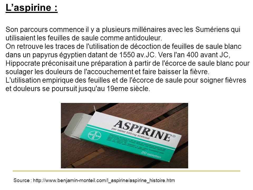 Laspirine : Son parcours commence il y a plusieurs millénaires avec les Sumériens qui utilisaient les feuilles de saule comme antidouleur. On retrouve