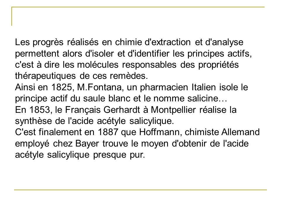 Les progrès réalisés en chimie d'extraction et d'analyse permettent alors d'isoler et d'identifier les principes actifs, c'est à dire les molécules re