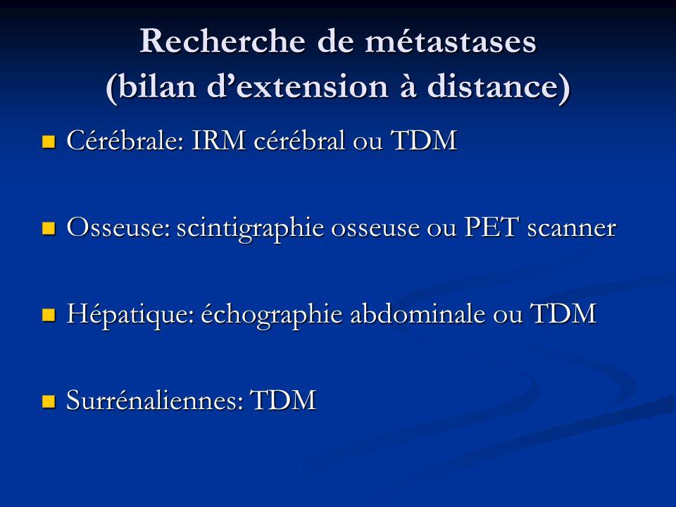 Recherche de métastases (bilan dextension à distance) Cérébrale: IRM cérébral ou TDM Cérébrale: IRM cérébral ou TDM Osseuse: scintigraphie osseuse ou