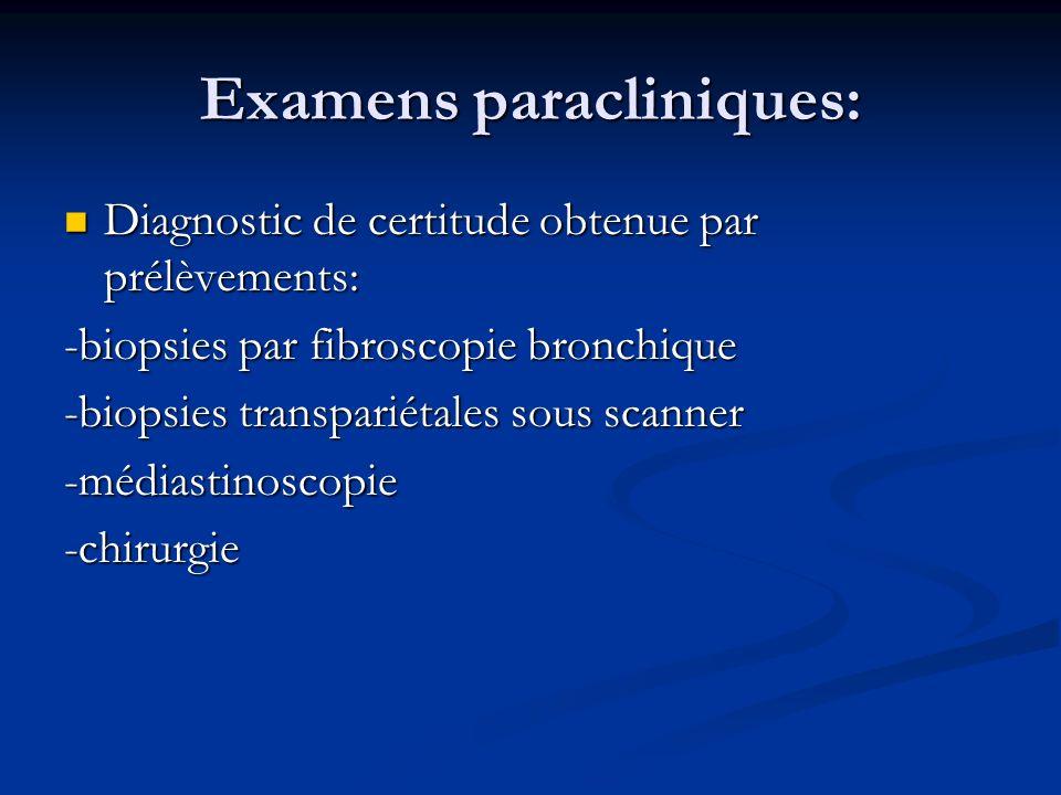 Examens paracliniques: Diagnostic de certitude obtenue par prélèvements: Diagnostic de certitude obtenue par prélèvements: -biopsies par fibroscopie b