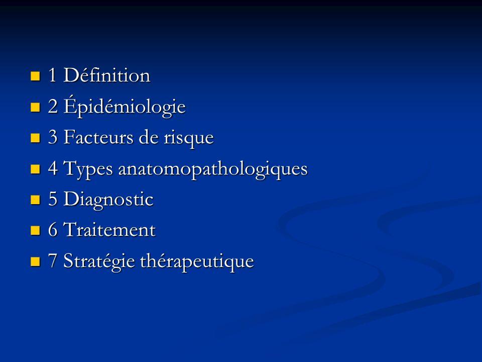 1 Définition 1 Définition 2 Épidémiologie 2 Épidémiologie 3 Facteurs de risque 3 Facteurs de risque 4 Types anatomopathologiques 4 Types anatomopathol