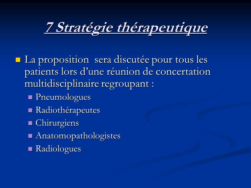 7 Stratégie thérapeutique La proposition sera discutée pour tous les patients lors dune réunion de concertation multidisciplinaire regroupant : La pro