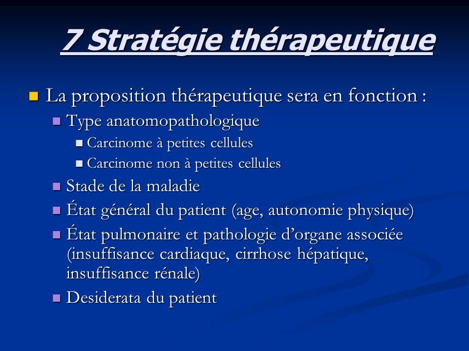 7 Stratégie thérapeutique La proposition thérapeutique sera en fonction : La proposition thérapeutique sera en fonction : Type anatomopathologique Typ