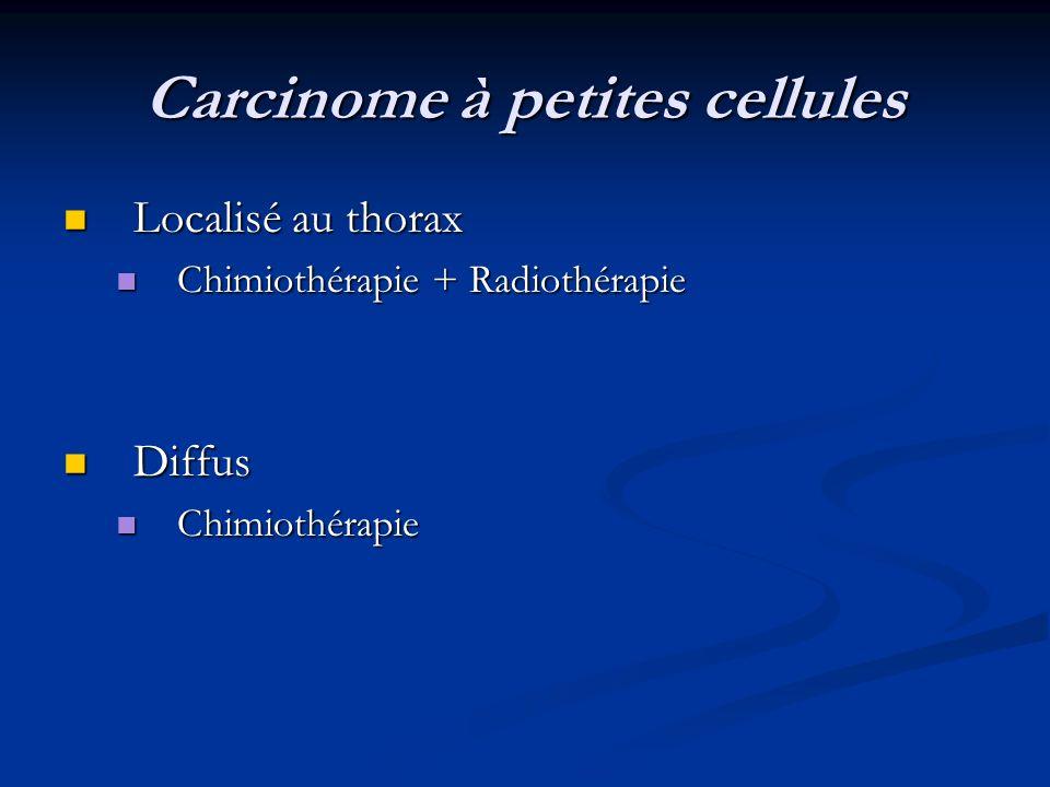Carcinome à petites cellules Localisé au thorax Localisé au thorax Chimiothérapie + Radiothérapie Chimiothérapie + Radiothérapie Diffus Diffus Chimiot