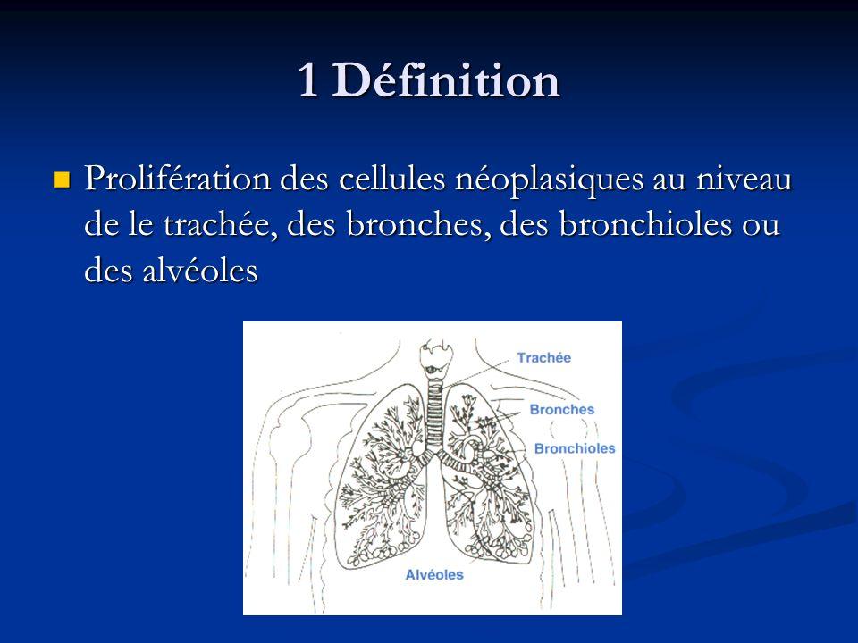 1 Définition Prolifération des cellules néoplasiques au niveau de le trachée, des bronches, des bronchioles ou des alvéoles Prolifération des cellules