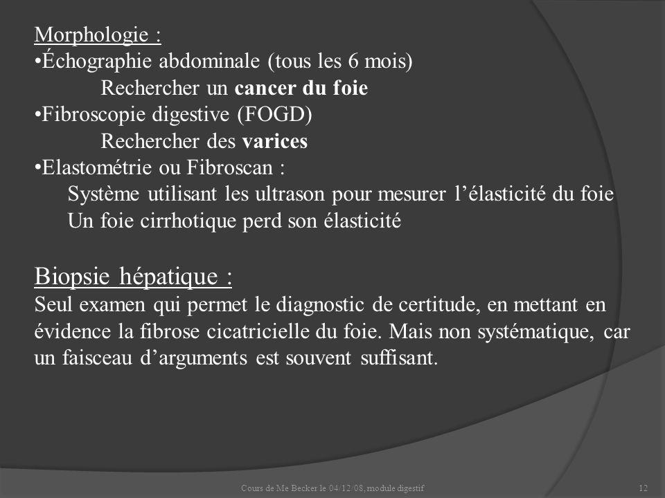 Cours de Me Becker le 04/12/08, module digestif12 Morphologie : Échographie abdominale (tous les 6 mois) Rechercher un cancer du foie Fibroscopie dige